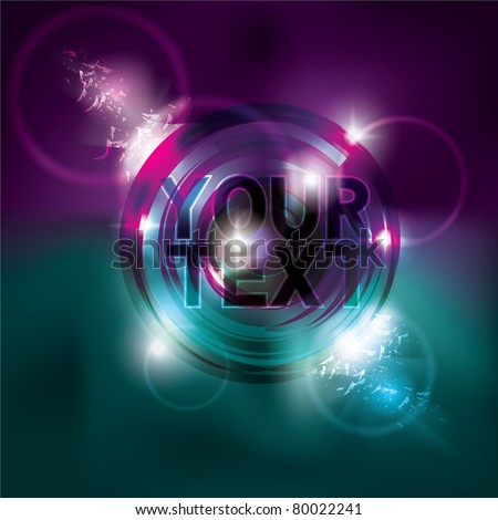 Funky 1980s inspired glowing neon circle light effect background