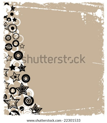 Funky Stars and Circles Borders - stock vector