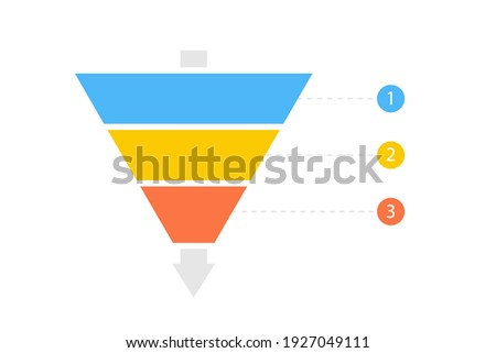 Funnel diagram three steps template. Clipart image isolated on white background.