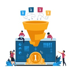 Funnel leads generation. Inbound marketing and attracting customers strategy, increasing conversion rate concept. Vector illustration vibrant creative concepts identify potential customer