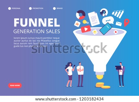 Funnel sale generation. Digital marketing funnel lead generations with buyers. Strategy, conversion rate optimization vector concept. Funnel marketing, generation and optimization sale illustration