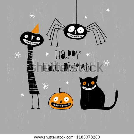 Funny Abstract Hand Drawn Happy Halloween Vector Illustration. Freaky Black Cat, Angry Pumpkin, Cute Black Spider, Creepy Clown in Orange Party Hat. Black Hand Written Letters on a Gray Background.
