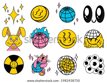 Funny abstract pictures, cartoon style, rave art, emoticons, funny characters, radiation. All elements are isolated, Square posters, logo templates