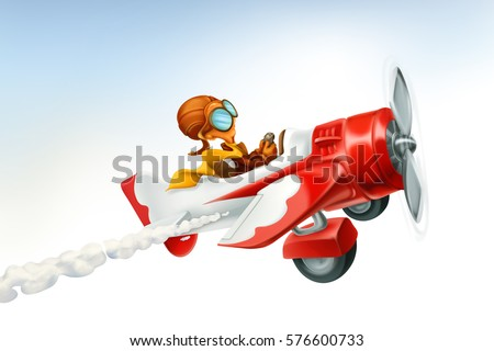 Funny airplane. 3d vector cartoon isolated on white background.