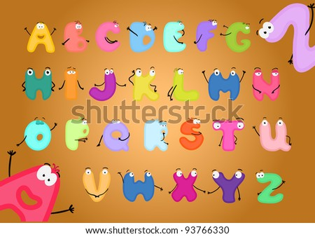 Funny alphabet with hands and eyes