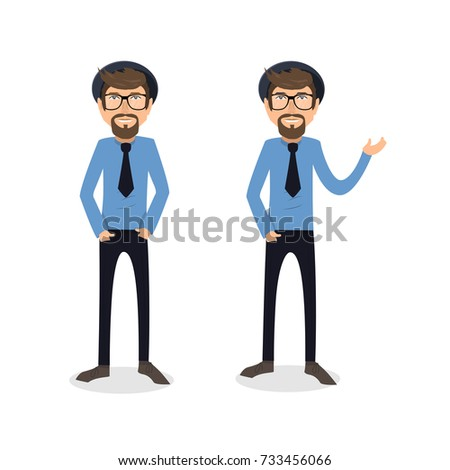 funny and cool cartoon guy in casual clothes, gesturing. Vector illustration, Hipster Style