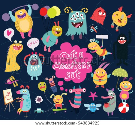 funny and crazy monsters set of