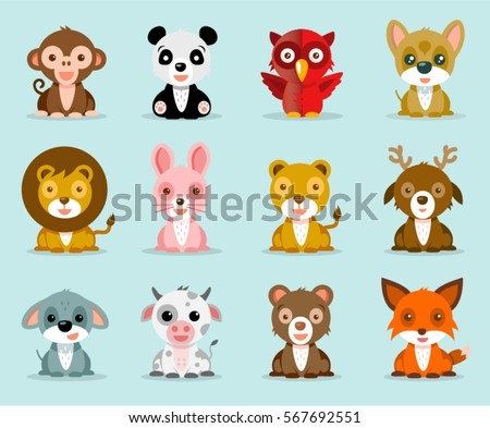 Funny and Cute Animals Vector illustrations Icon Set isolated