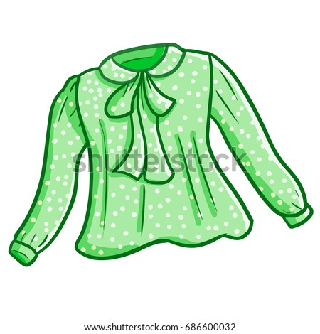 Funny and cute beautiful green woman blouse with polka dot pattern - vector.