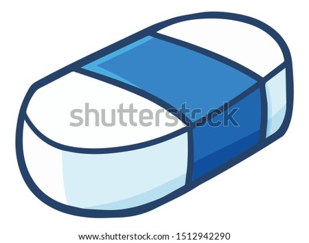 Funny and cute blue white eraser for your school equipment Foto stock ©