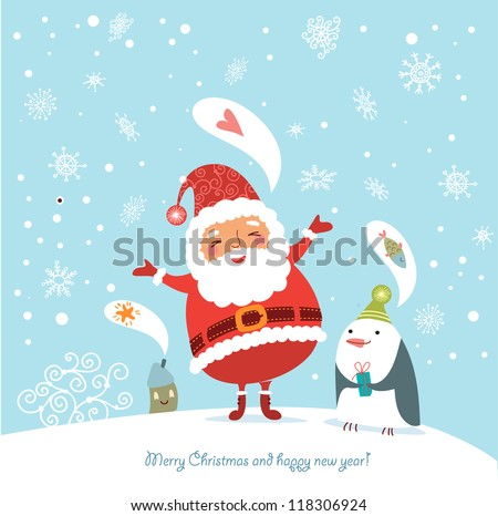 Funny And Cute Christmas Card Stock Vector Illustration