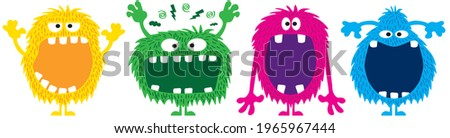 funny and cute colourful monsters for halloween with big open mouths as copy space