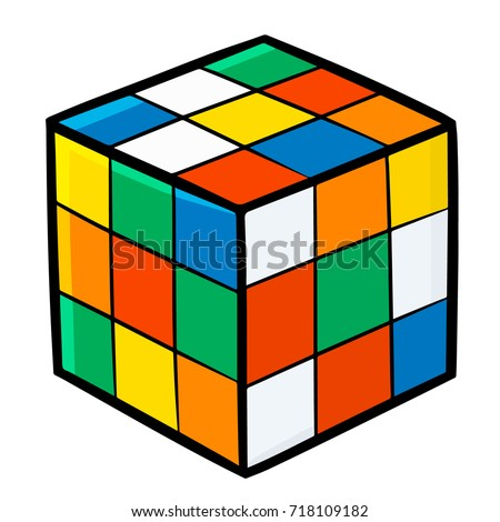 Funny and cute cube puzzle for brain training - vector.