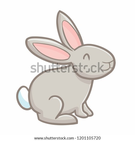 Funny and cute gray rabbit smiling - vector