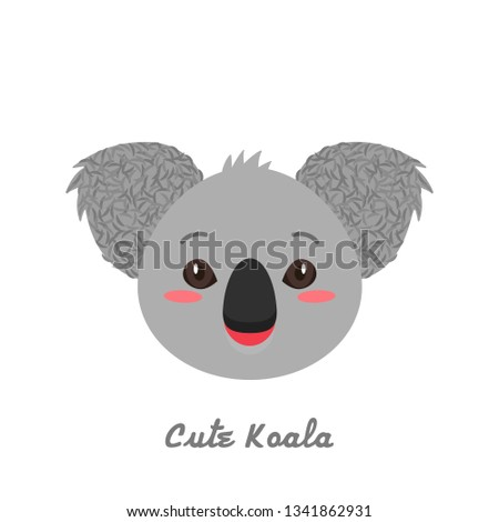Funny and cute koala snout. children's print. flat vector illustration isolated on white background