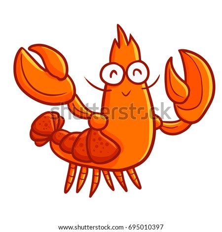 funny and cute lobster waving