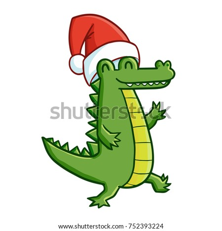 Funny and cute walking crocodile wearing Santa's hat and smiling - vector.