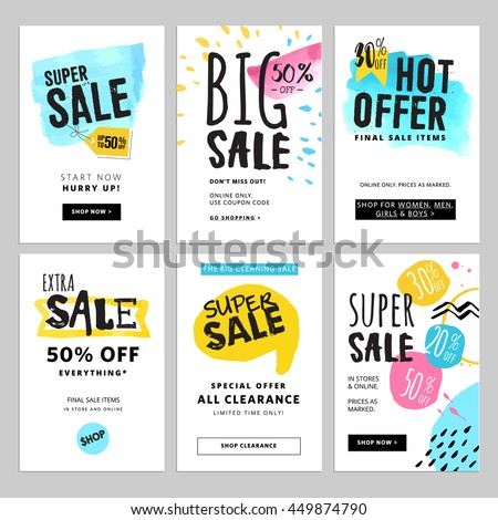 Funny and eye catching sale banners collection. Vector illustrations for social media banners, posters, email and newsletter designs, ads, promotional material.