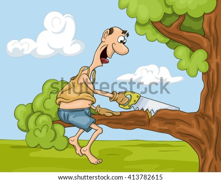 Funny and  not very clever cartoon man is sawing a tree brunch he is sitting on Stock foto ©