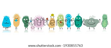 Funny and scary bacteria characters isolated on white. Vector icons of gut and intestinal flora, germs, virus. Illustration Stock foto ©