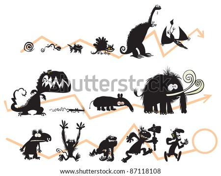 Funny Animal and Human Silhouettes on the Evolution scale.