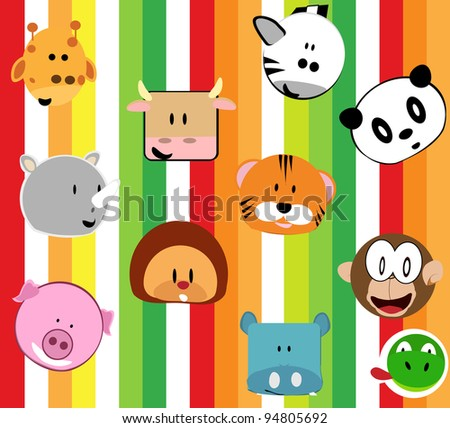 funny animal cartoon wallpaper - stock vector