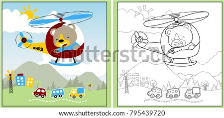 funny animal holiday time with little helicopter, coloring page or book