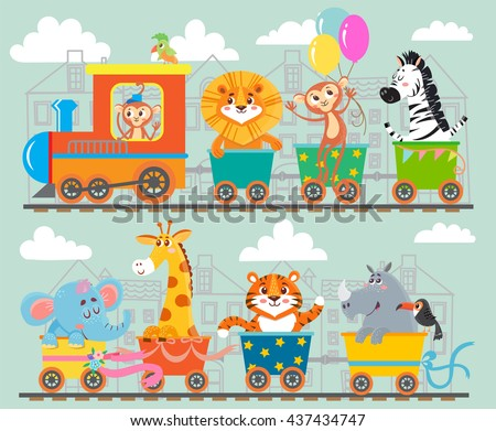 funny animal on train vector