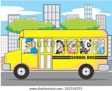Funny Animal School Bus