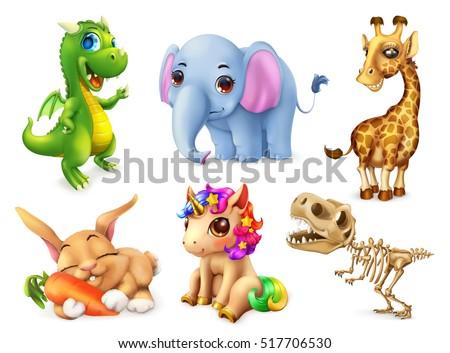 Stock Photo Funny animal set. Happy bunny, rabbit, cute unicorn, small dragon, baby elephant, giraffe, dinosaur. 3d vector icon