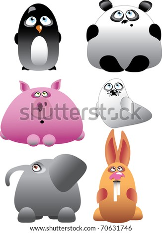 Funny Animal Set Vector Illustration