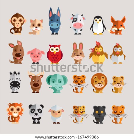 Shutterstock Funny Animal Vector illustration Icon Set