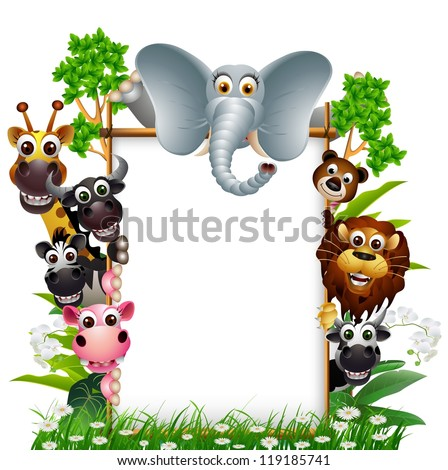 funny animal with blank sign and tropical forest background