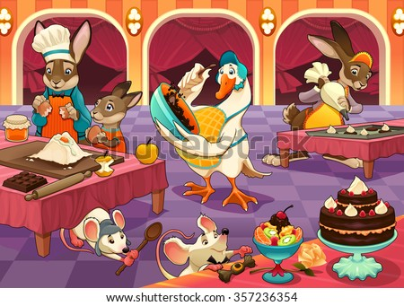 funny animals are cooking cakes