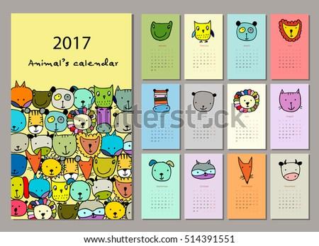 funny animals  calendar 2017