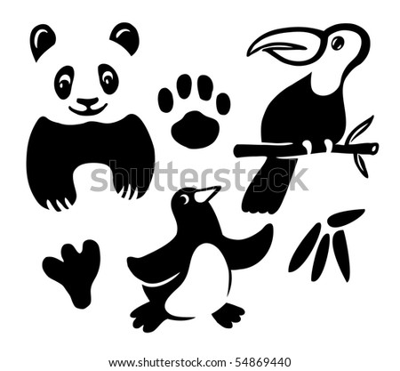 Funny animals collection. Vector illustration.