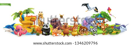 Funny animals. 3d vector panorama. Quokka, shark, turtle, parrot, giraffe, rabbit, zebra, elephant, stork, crocodile, kangaroo, panda. High quality 50mb eps
