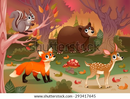 funny animals in the wood
