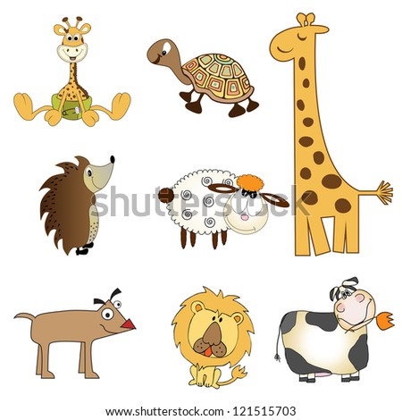 funny animals items set in vector format, isolated on white background - stock vector