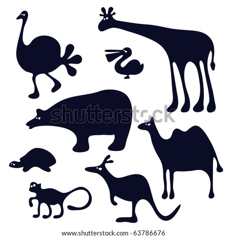 funny animals silhouette - stock vector