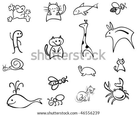 funny animals vector outline