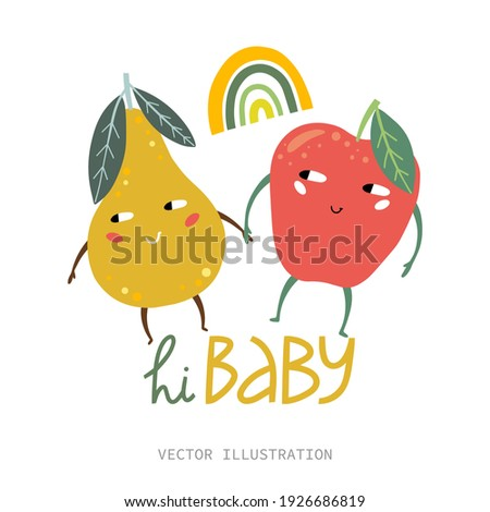 funny apple and pear vector