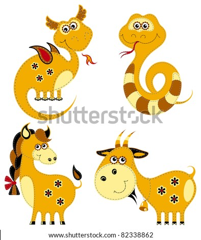 Funny applique chinese horoscope. Dragon, snake, horse and goat, isolated on white background. The vector art image is very well-organized in groups