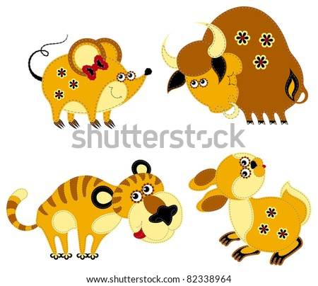 Funny applique chinese horoscope. Rat, ox, tiger and rabbit, isolated on white background. The vector art image is very well-organized in groups