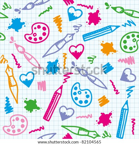 funny art seamless pattern with hand drawn elements