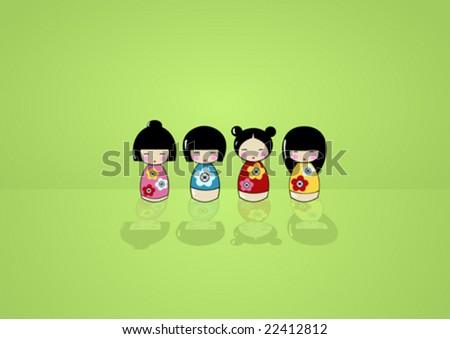 funny asian dolls in a kimono