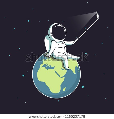 Stock Photo Funny astronaut make selfie on Earth.Spaceman photographs himself