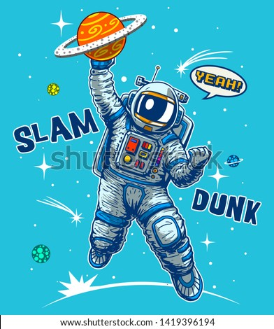 funny astronaut playing basketball in space comics style vector illustration wallpaper cartoon poster baby shower tees print home textile pajama graphic design