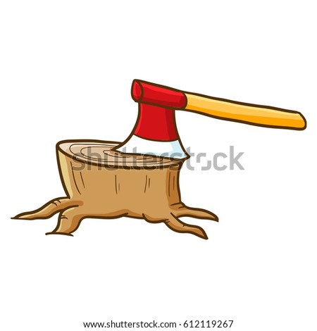 Funny axe stick to the wood - vector.