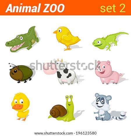 funny baby animals icon set